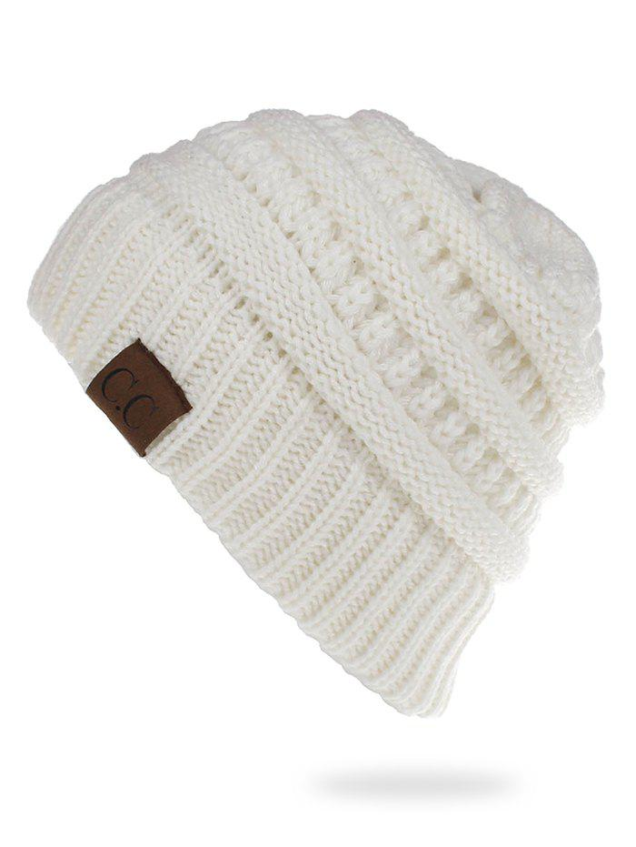 Label Solid Color Knitted Ski Cap