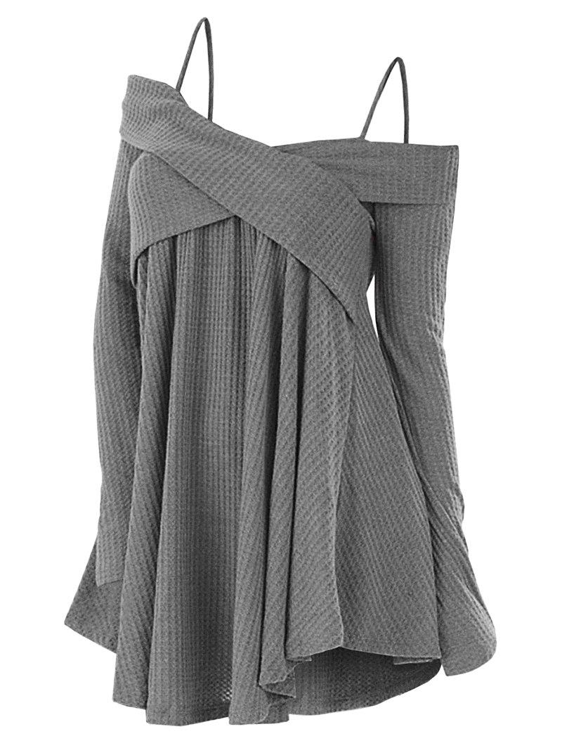 Latest Open Shoulder Crisscross Tunic Sweater