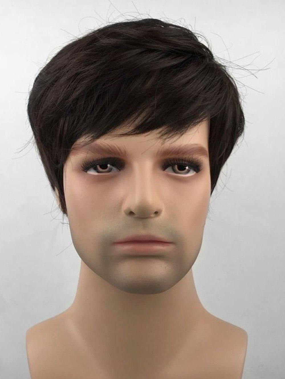 Sale Oblique Bang Short Straight Synthetic Wig for Men