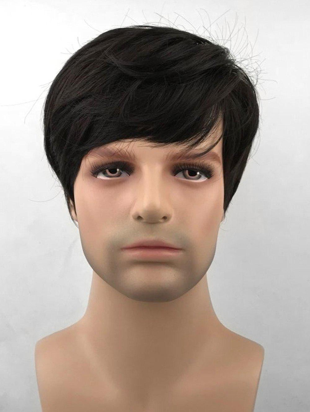 New Oblique Bang Short Straight Synthetic Wig for Men