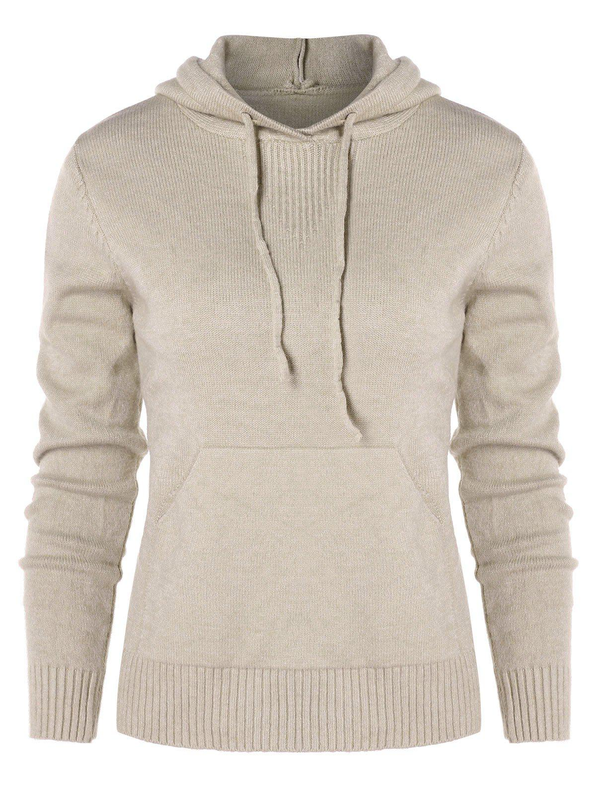 Fashion Drawstring Knit Hoodie