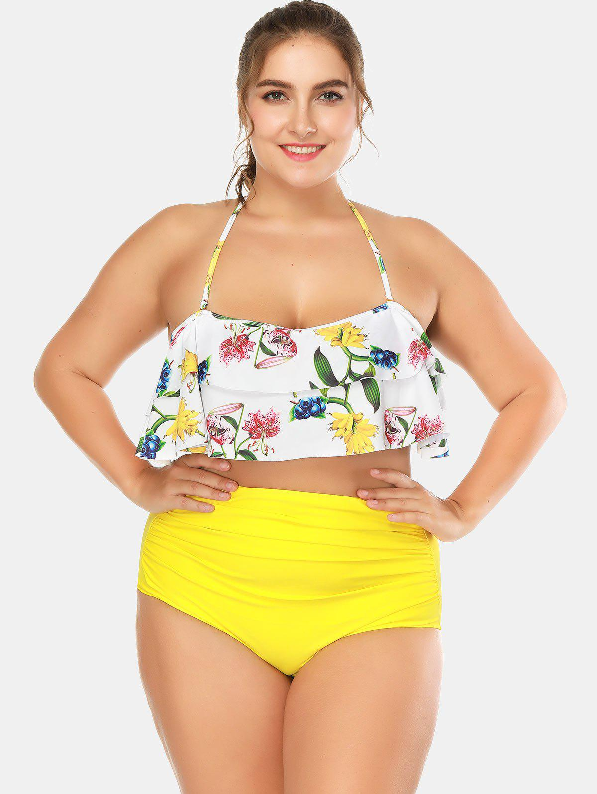Cheap Fruits Print Plus Size Halter Neck Tankini Set