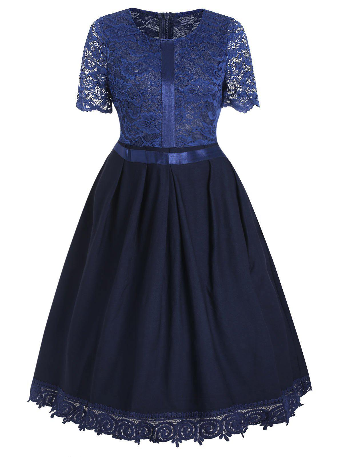 Buy Retro Lace Insert Fit and Flare Dress