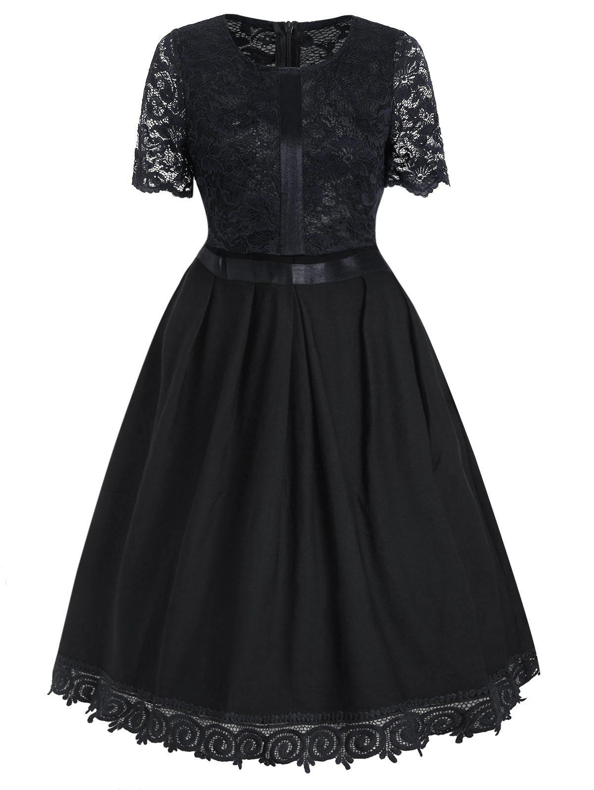 Best Retro Lace Insert Fit and Flare Dress