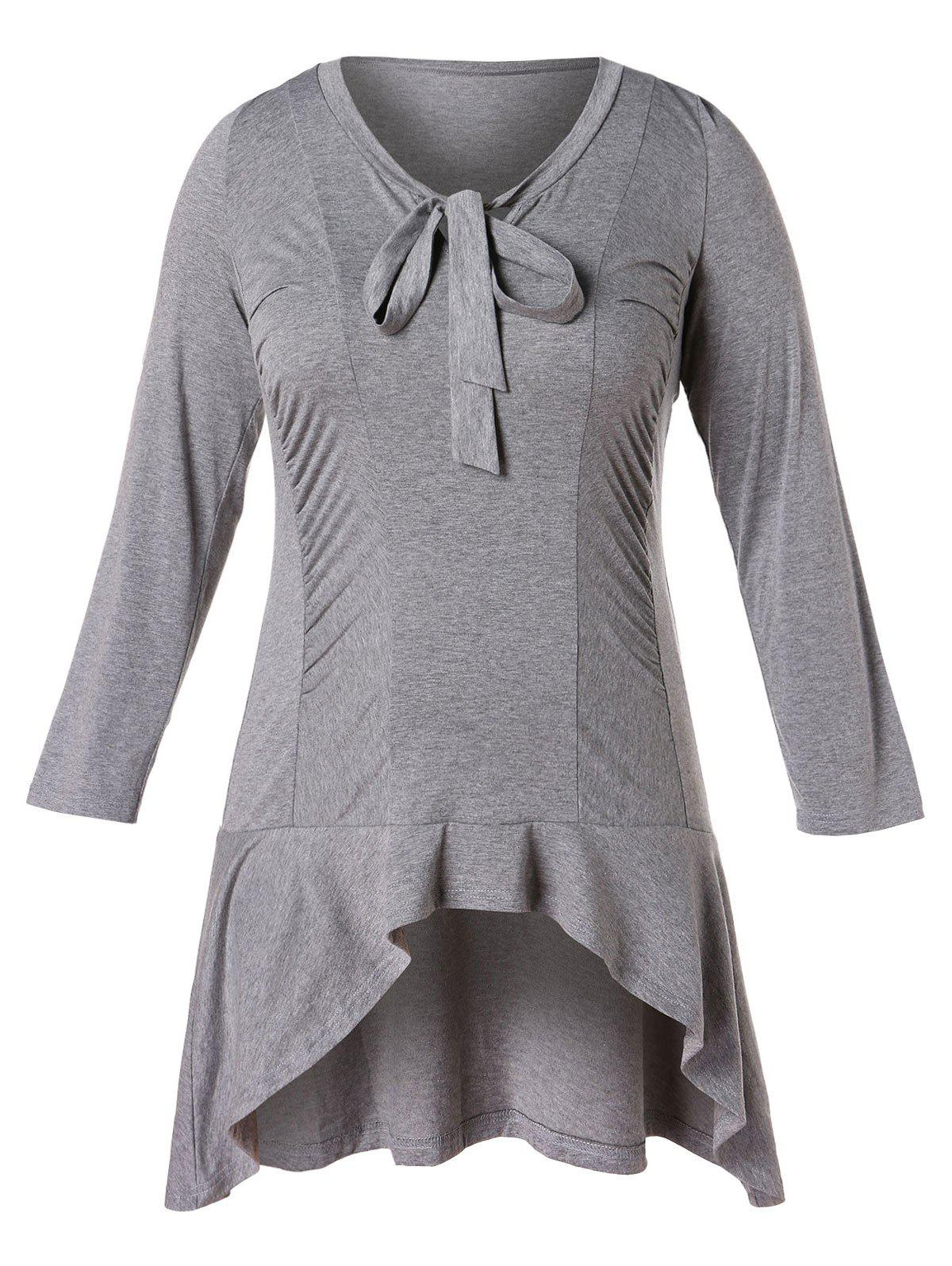 Trendy Plus Size Bow Tie Flounced High Low Tunic T-shirt
