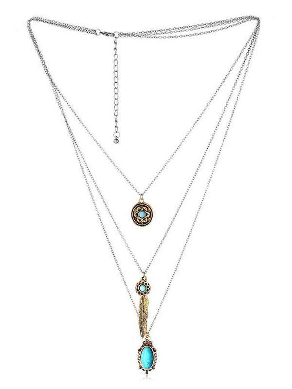 Outfits Multilayered Bohemian Faux Turquoise Necklace