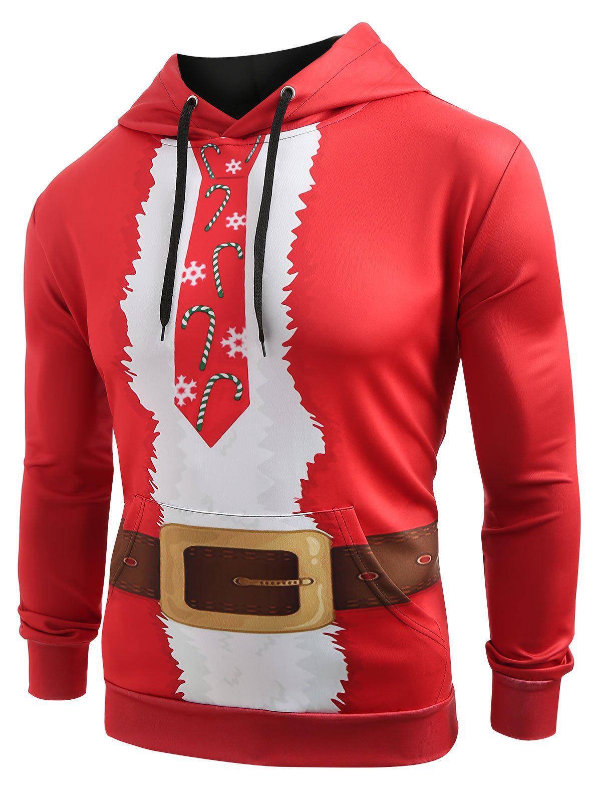 Latest Christmas Belt Candy Pattern Casual Hoodie