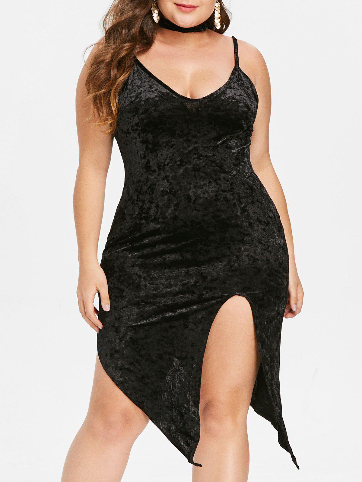 Discount Front Slit Plus Size Bodycon Velvet Dress