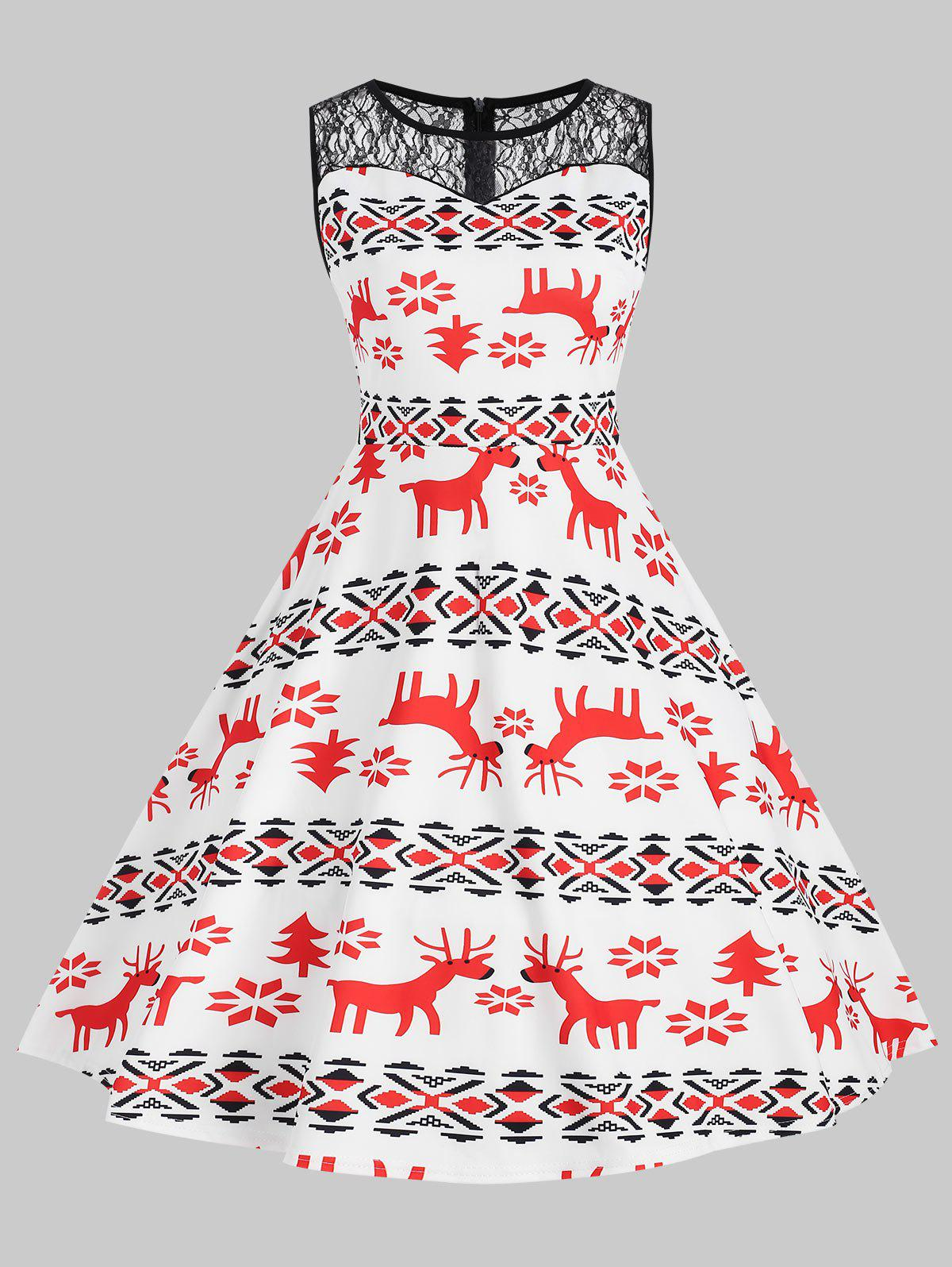 Outfits Christmas Elk Snowflake Print Pin Up Dress