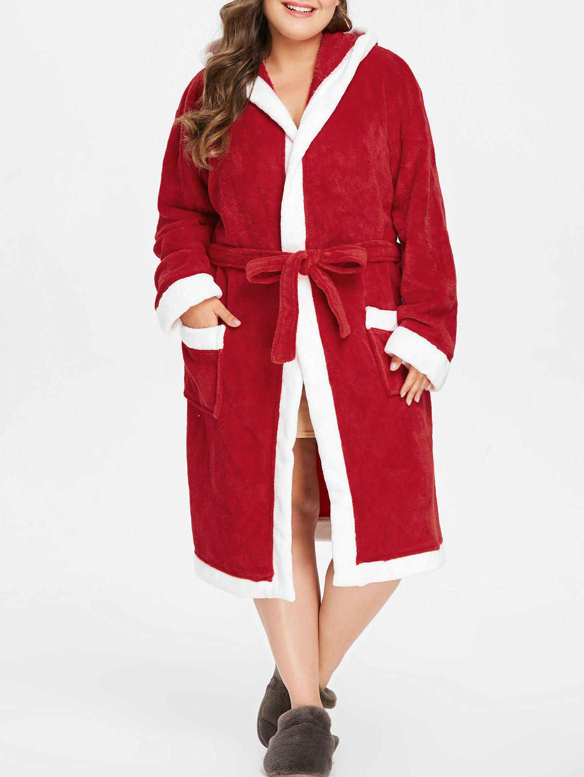Fashion Plus Size Christmas Hooded Robe with Belt