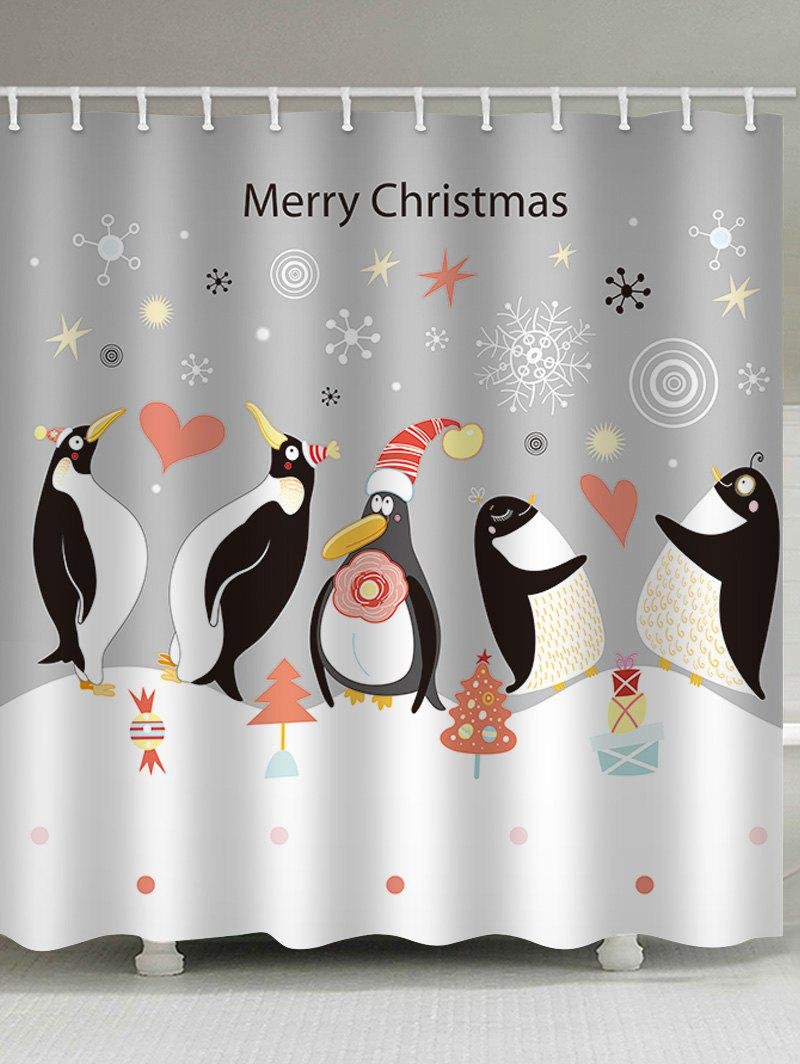 Fashion Christmas Penguin Print Waterproof Bathroom Shower Curtain