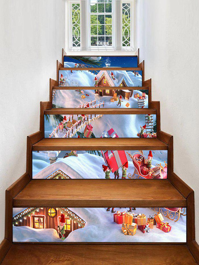 Affordable Christmas Santa Village Pattern Removable Stair Stickers