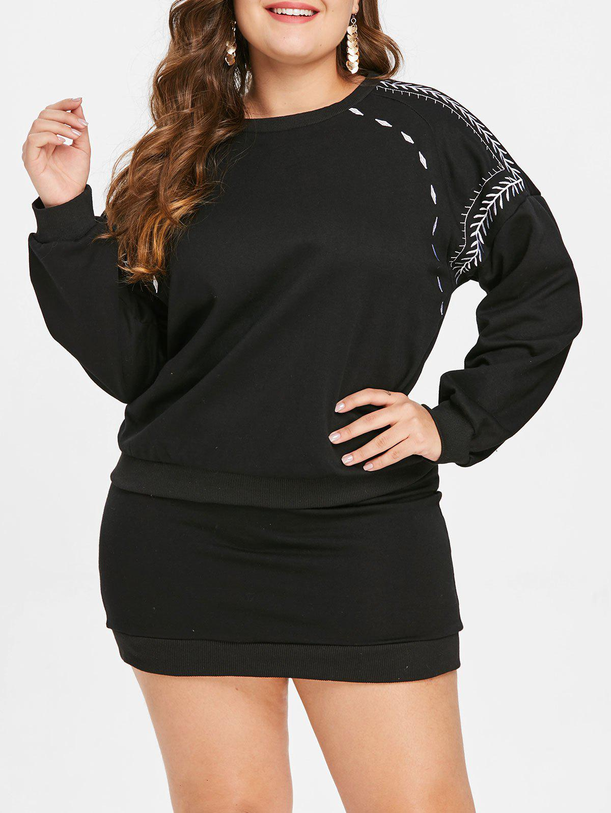 Trendy Plus Size Embroidery Two Piece Mini Dress