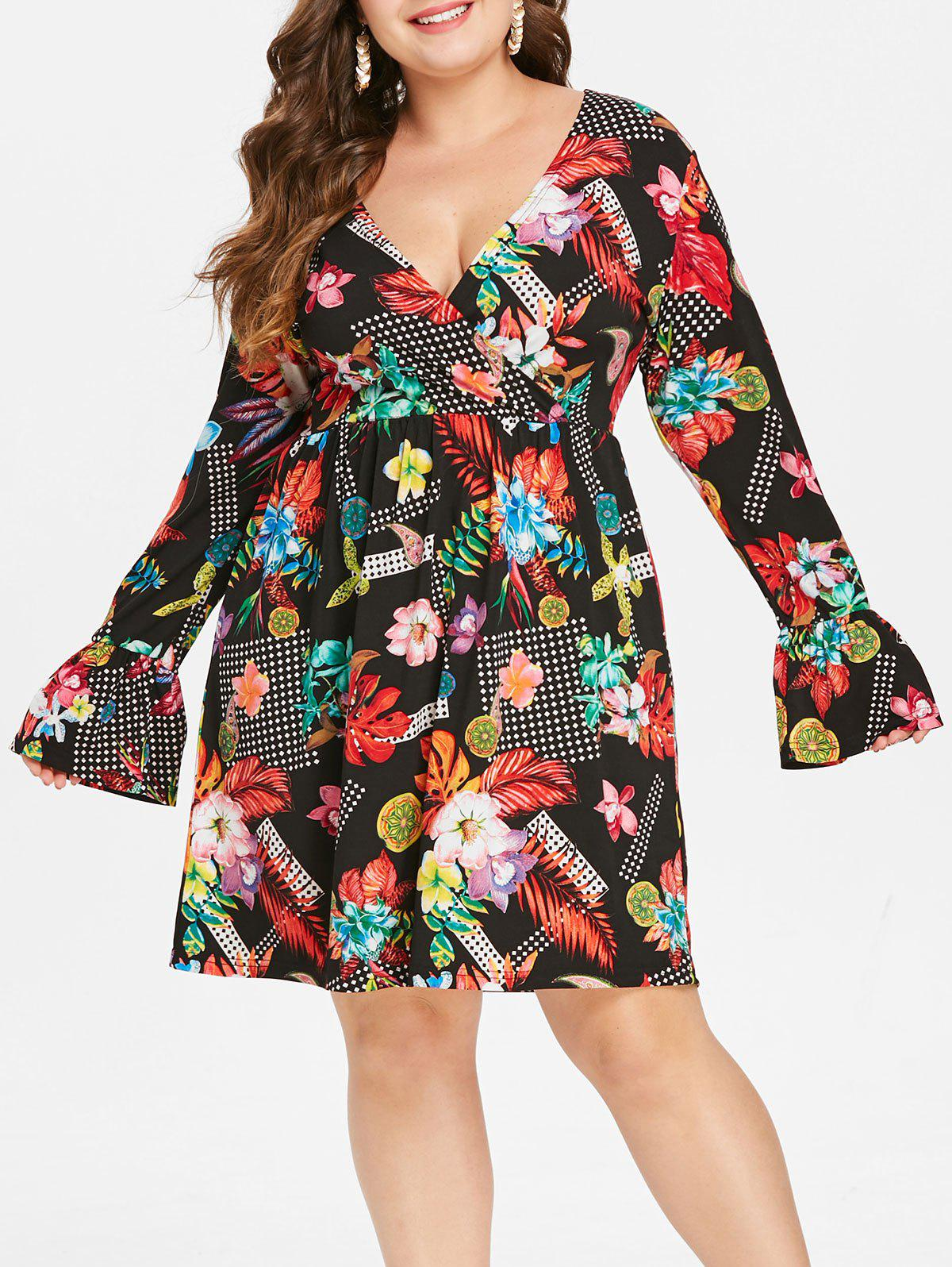 ace58f57dcd43 2019 Plus Size Bell Sleeve Floral Dress