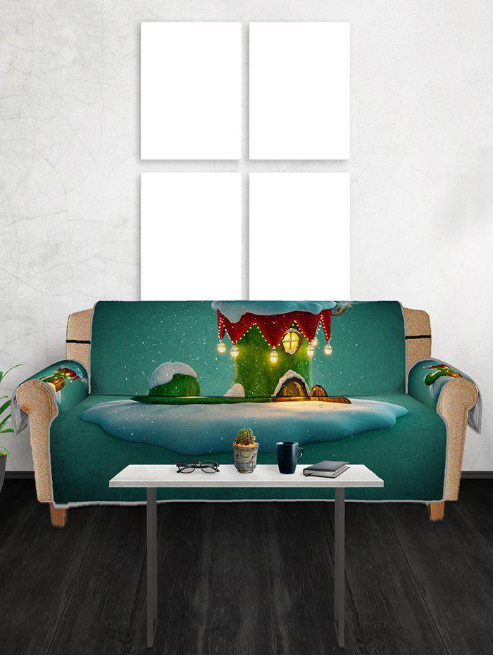 Unique Christmas Boot House Print Couch Cover