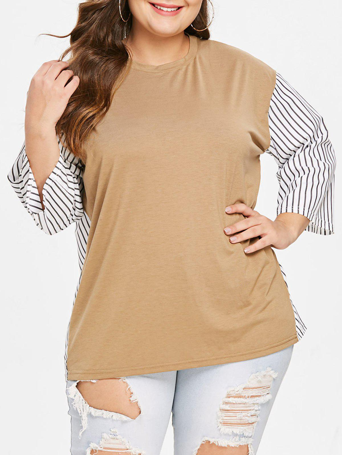 Shops Plus Size Round Neck Striped Panel T-shirt