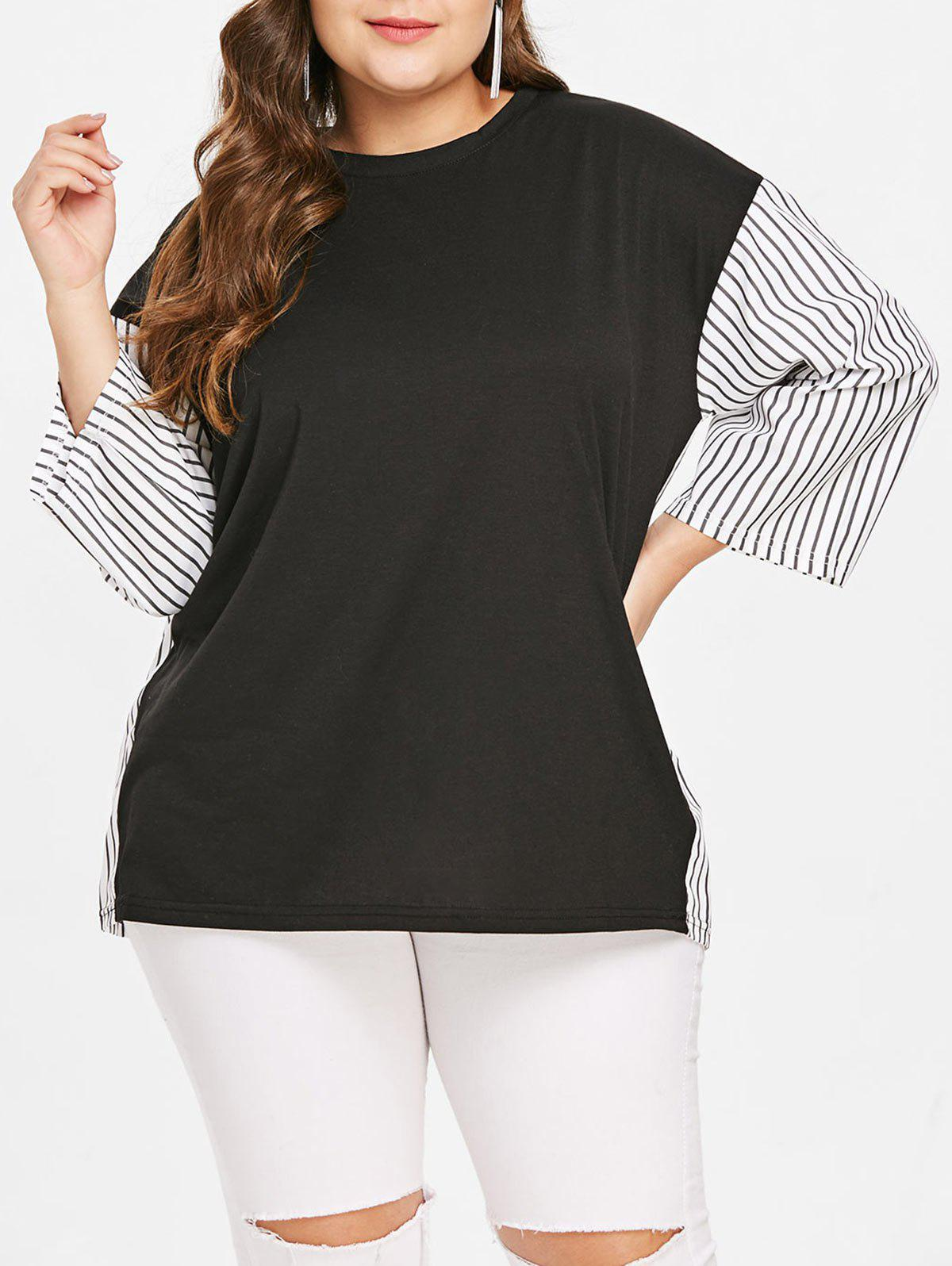 Buy Plus Size Round Neck Striped Panel T-shirt