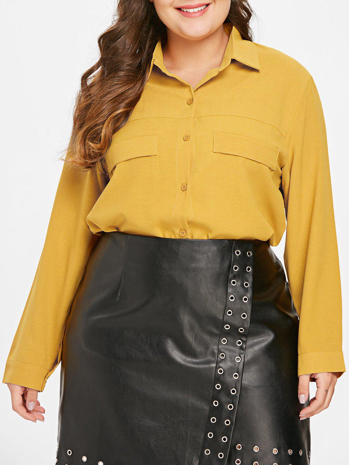 New Front Pockets Plus Size Shirt