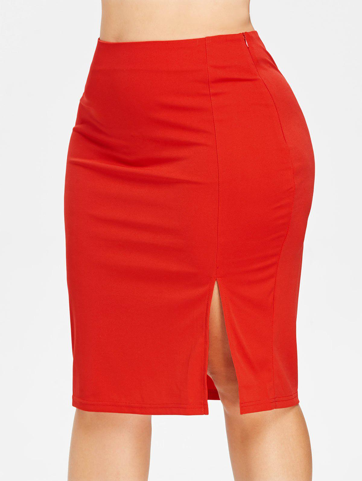 Discount Front Slit Plus Size Bodycon Skirt
