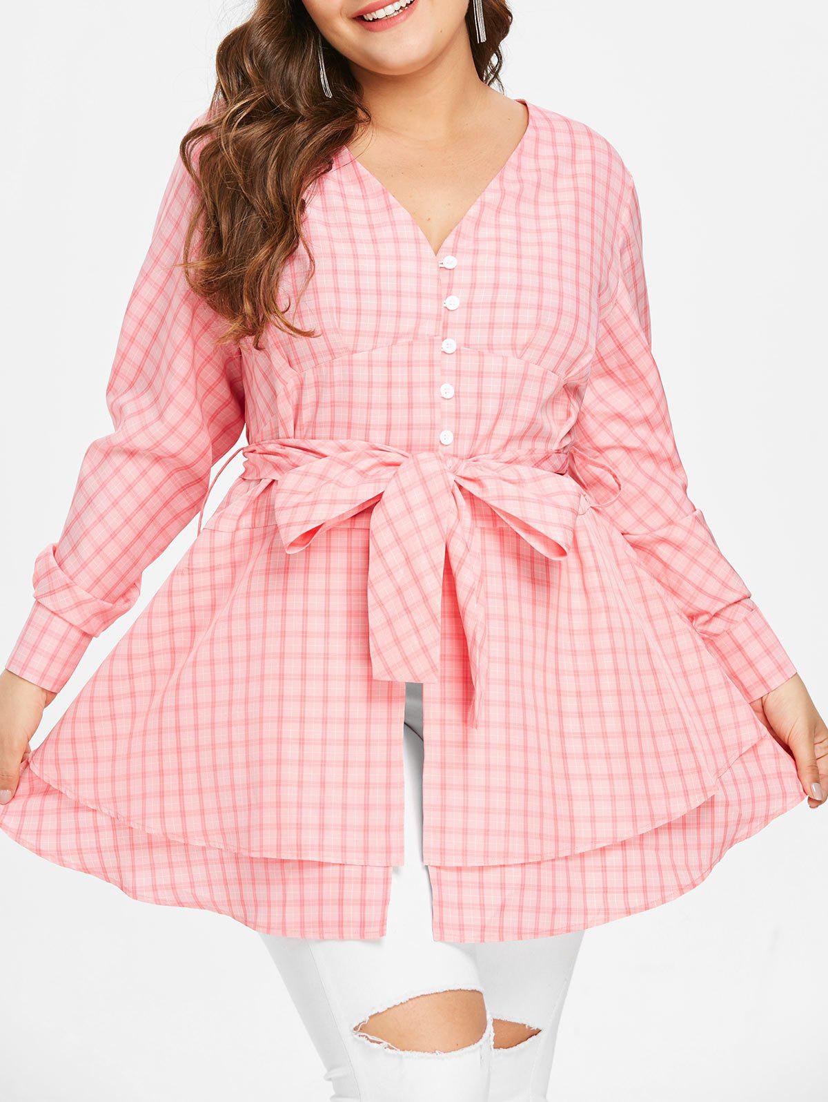 Trendy Plus Size Bowknot Gingham Blouse