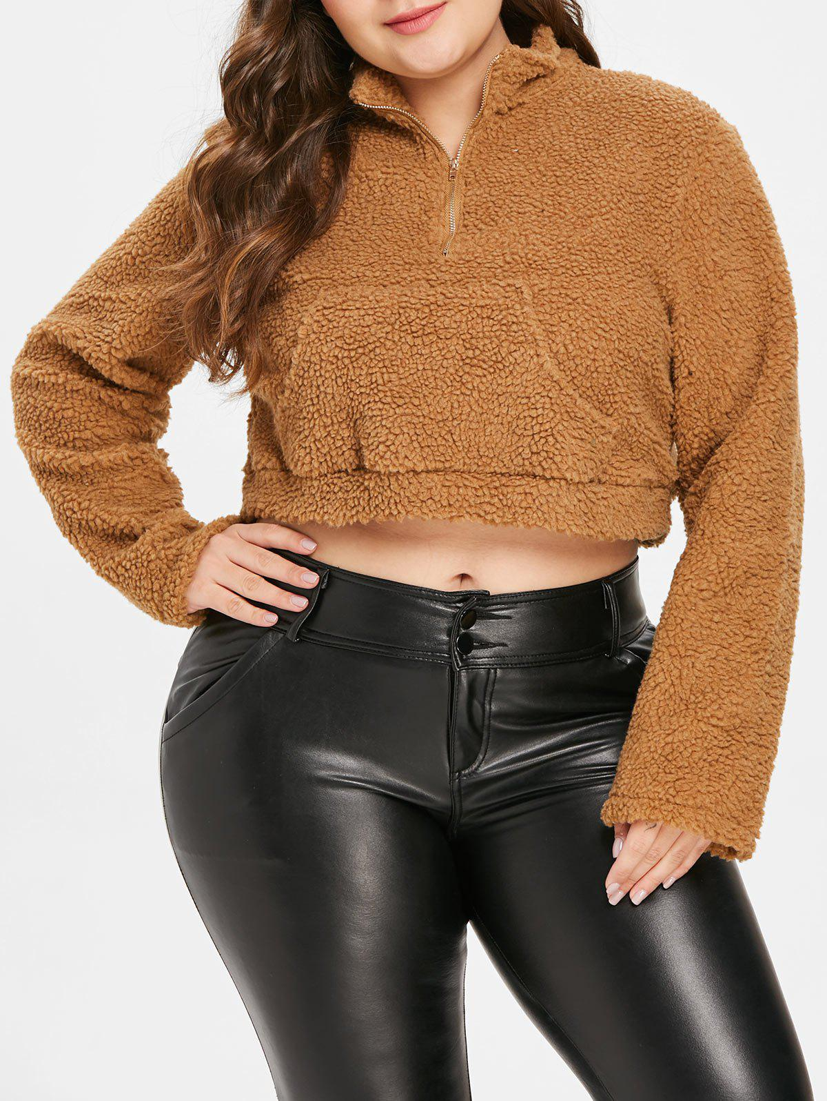 Outfit Plus Size Faux Fur Cropped Hoodie