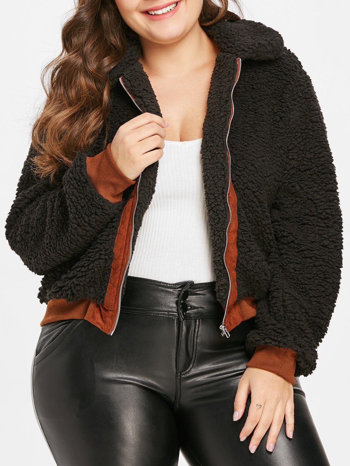 Unique Plus Size Contrast Trim Fuzzy Coat