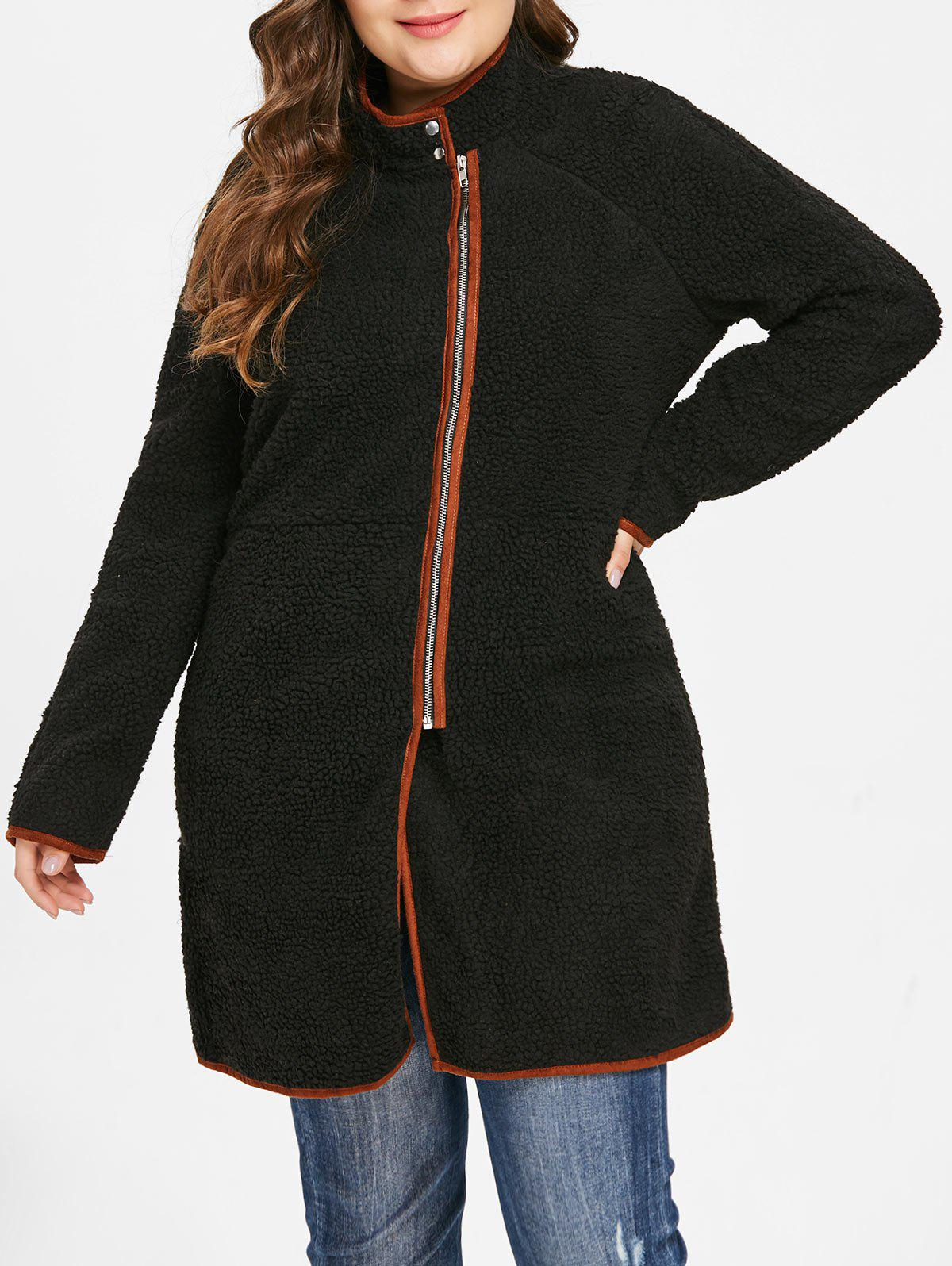 Affordable Plus Size Zip Fly Faux Fur Coat