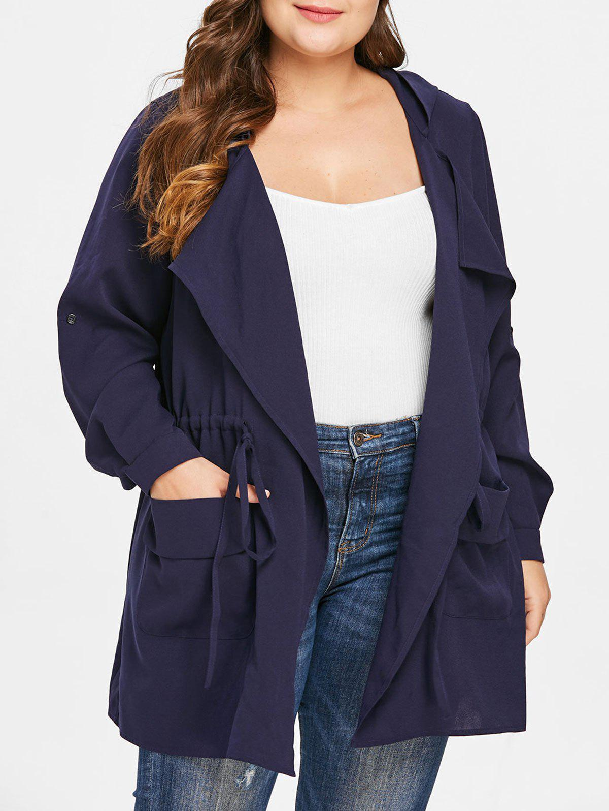 Buy Plus Size Turn Down Collar Drawstring Waist Coat