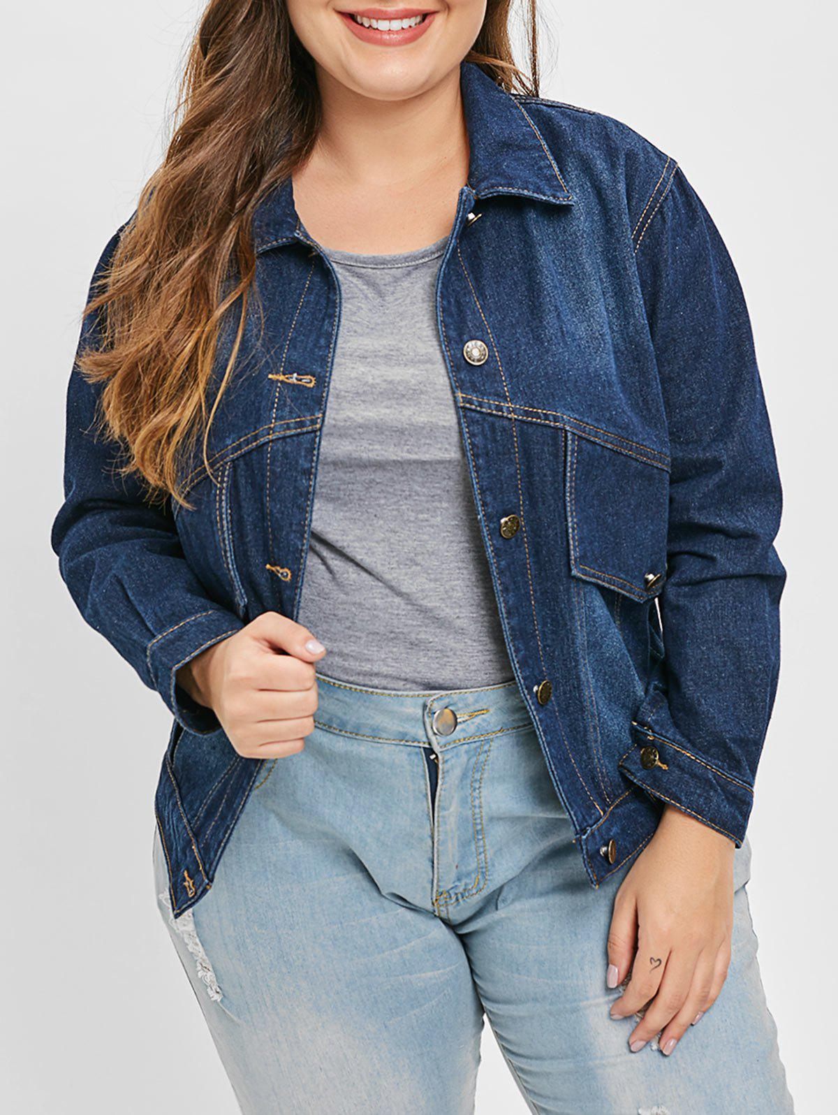 Fancy Plus Size Button Up Denim Jacket