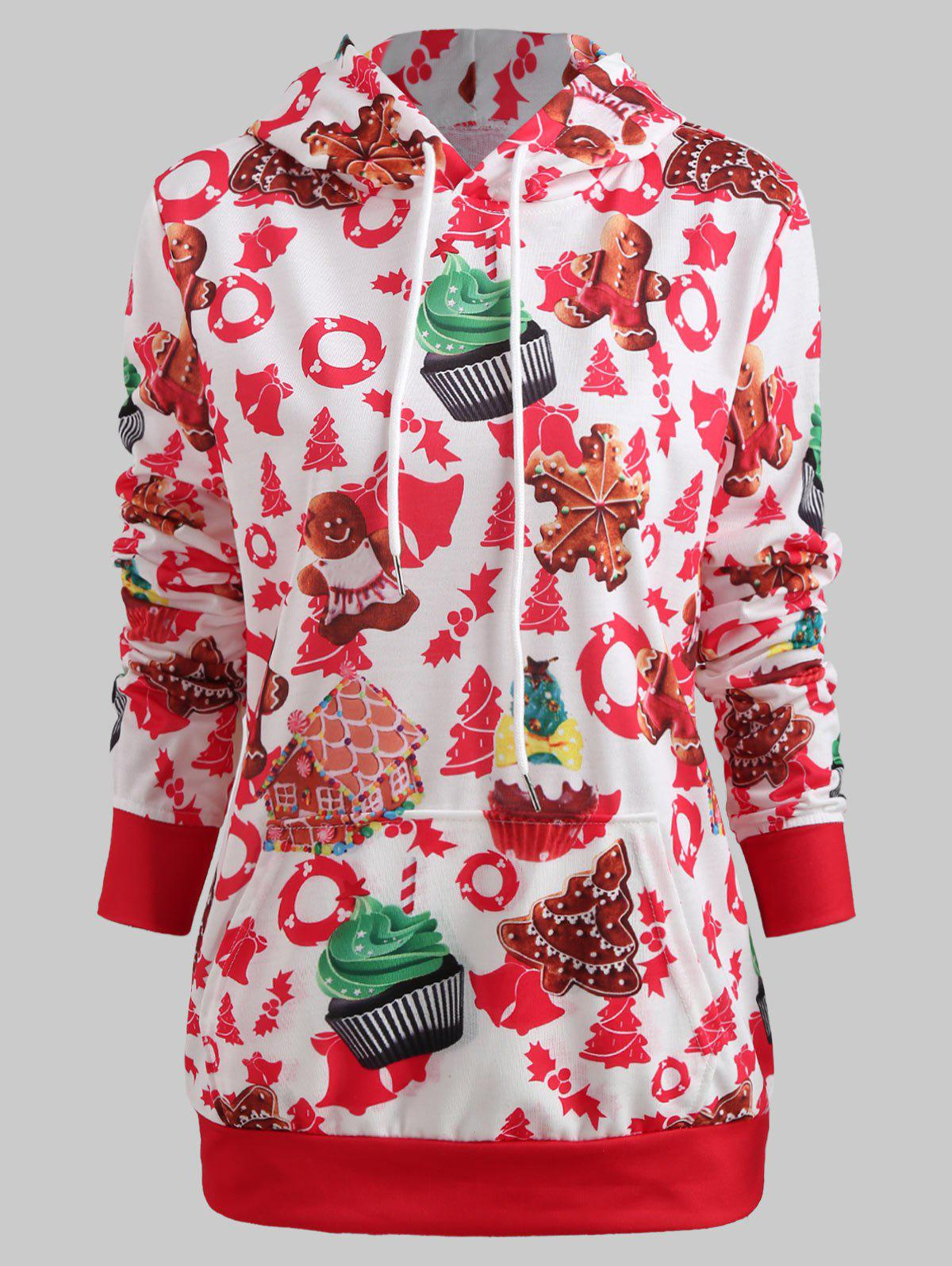 Chic Christmas Cake Print Pullover Hoodie