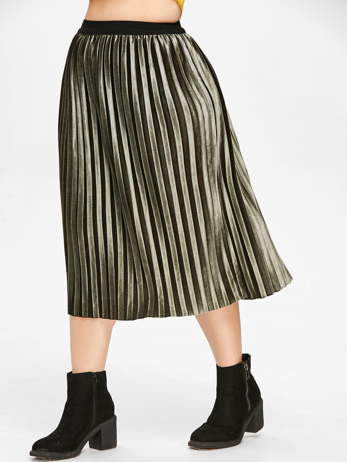 Outfit High Waist Plus Size Pleated Velvet Skirt