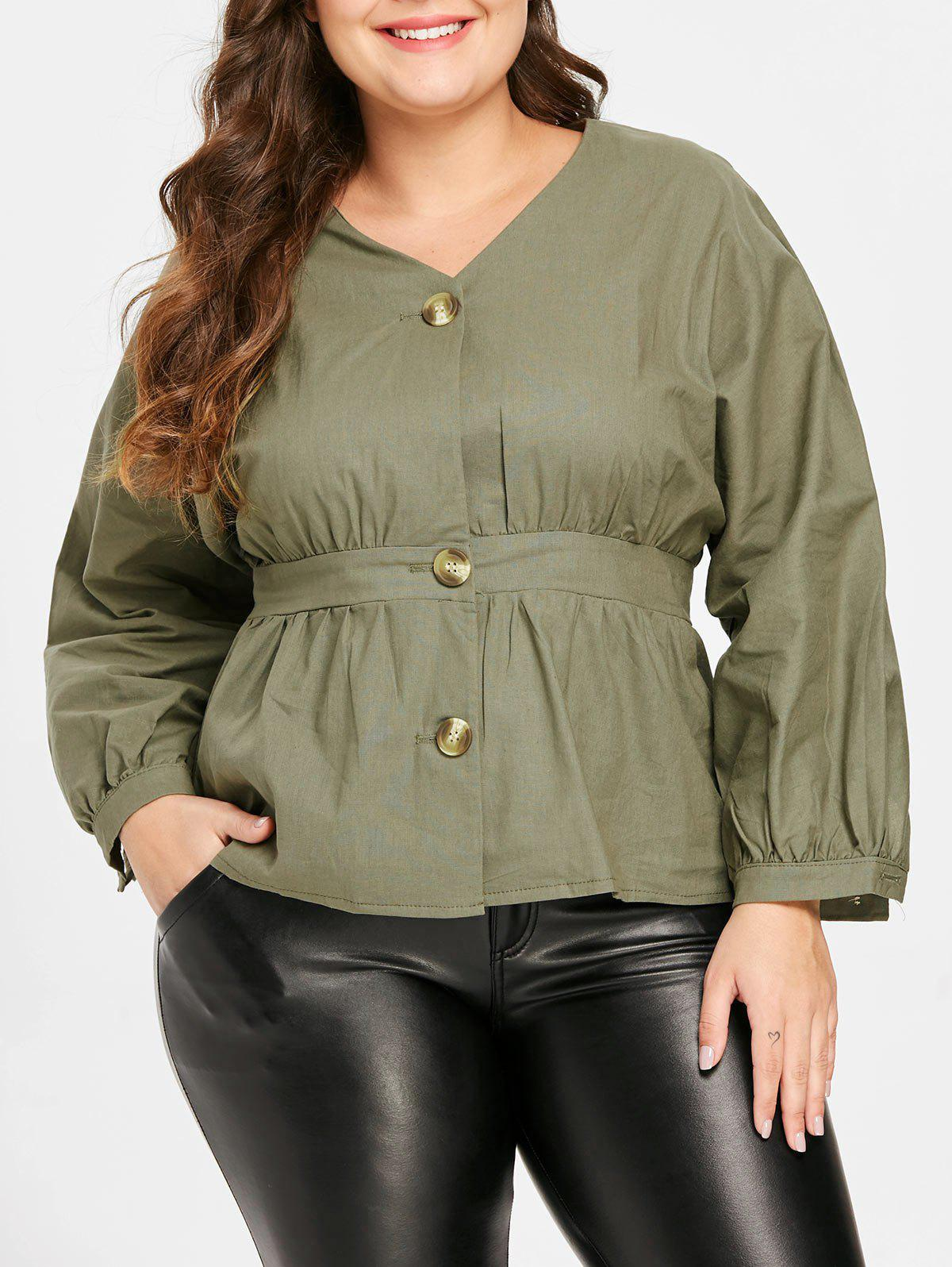 Store Button Detail Plus Size V Neck Shirt