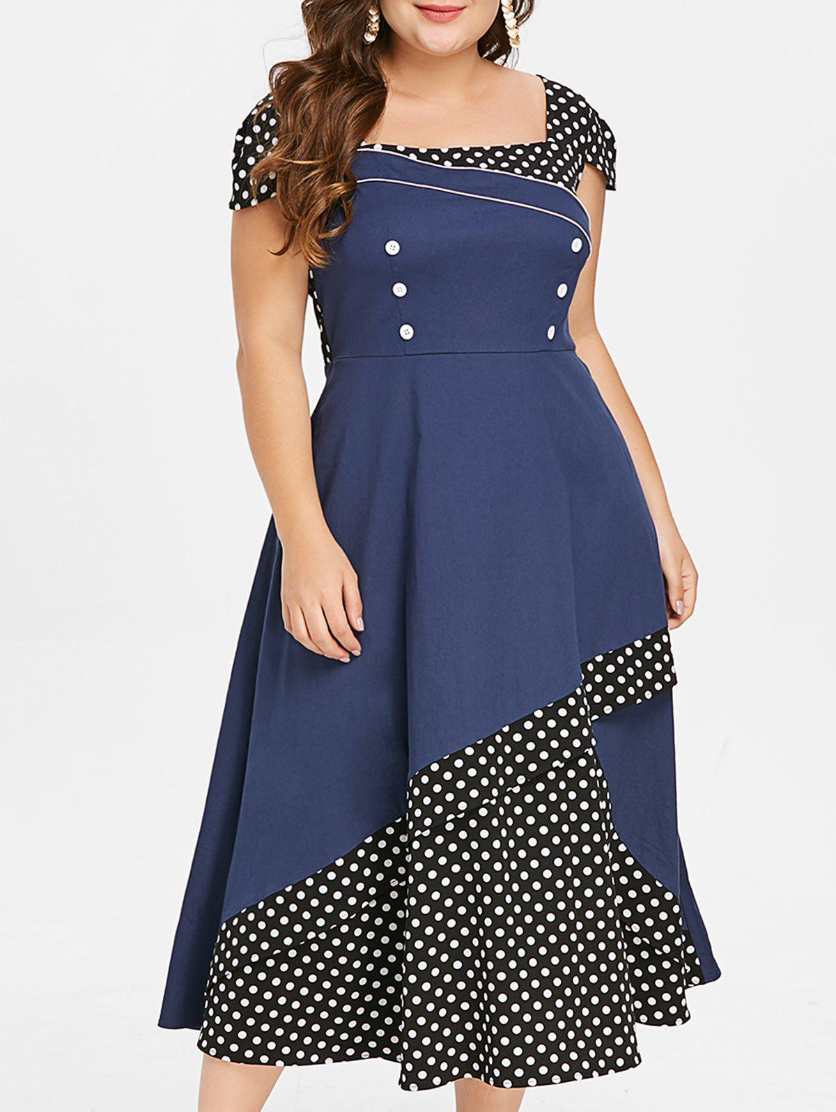Fancy Plus Size Polka Dot Color Block Square Neck Vintage Dress