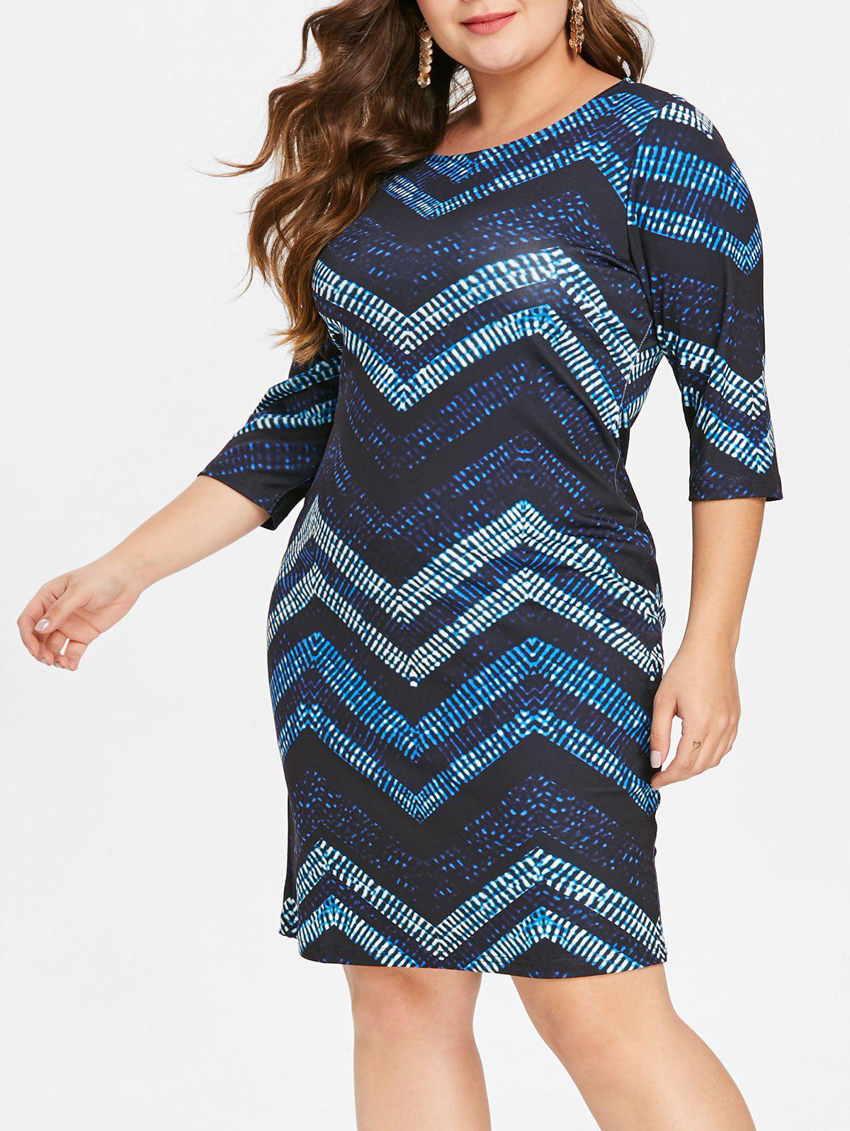 Fancy Chevron Print Plus Size Bodycon Dress