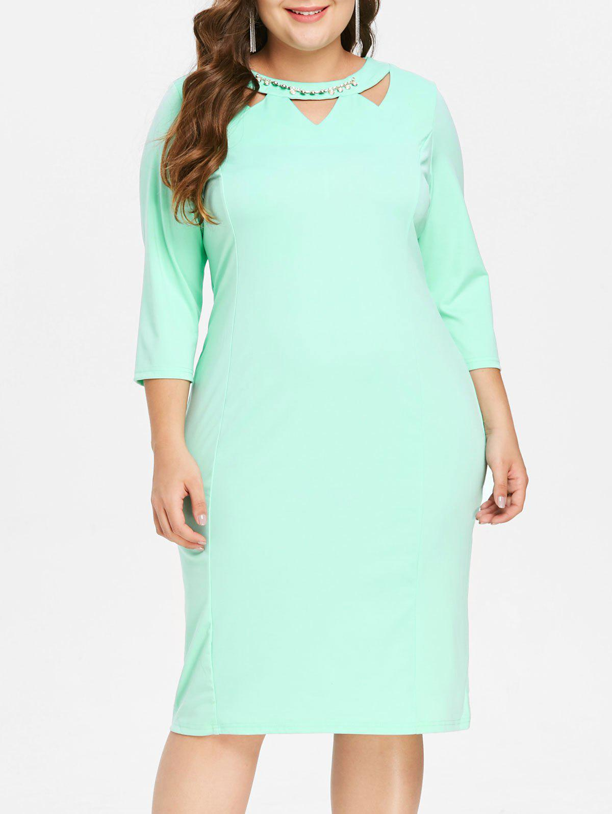 New Front Cut Out Plus Size Knee Length Dress