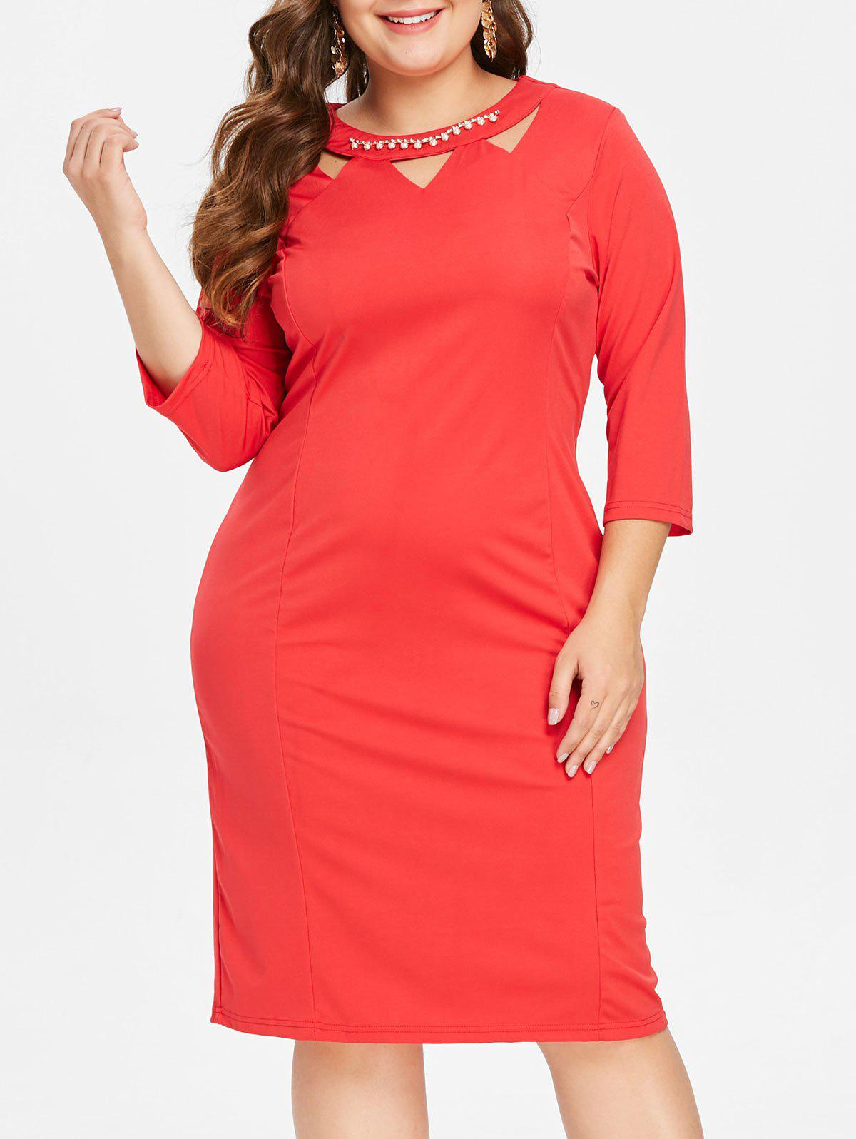 Shop Front Cut Out Plus Size Knee Length Dress