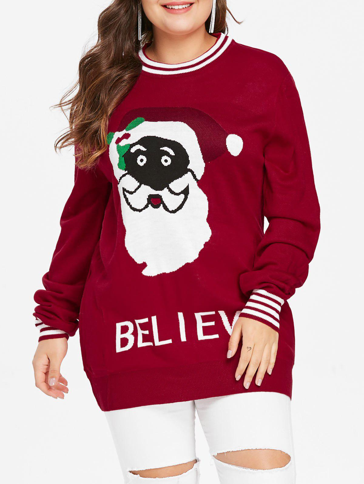 Trendy Christmas Plus Size Santa Claus Graphic Sweater