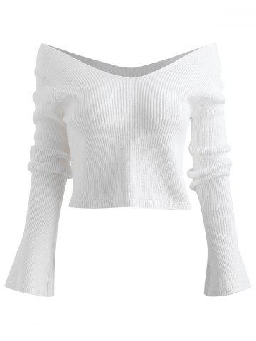 Off Shoulder Cropped Chunky Sweater