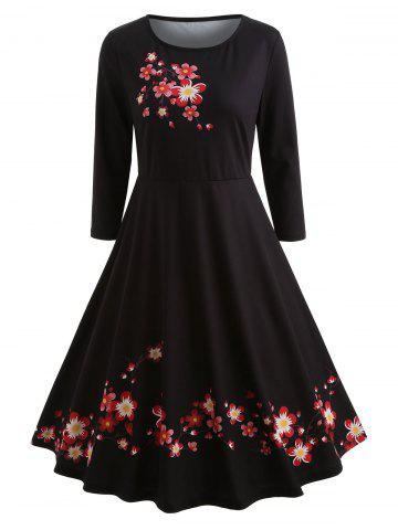 Vintage Knee Length Floral Print Dress
