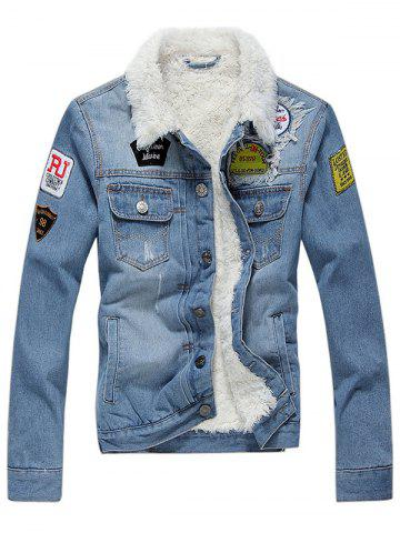 Label Patch Embellish Fluffy Denim Jacket