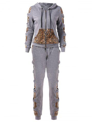 Leopard Print Bowknot Sweat Suits