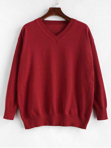 Plus Size Long Sleeve V Neck Pullover Sweater