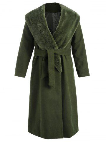 Plus Size Wrap Coat with Faux Fur Collar - DARK GREEN - 1X