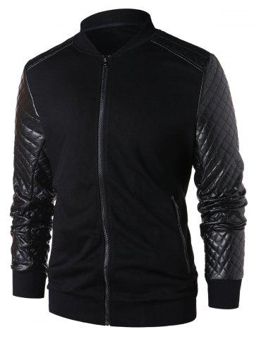 PU Leather Panel Zip Up Jacket