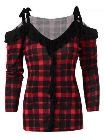 Open Shoulder Strap With Bowknot Ruffles Sweater