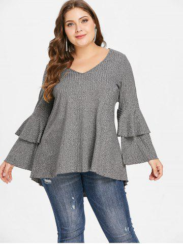 Plus Size Layered Flare Sleeve Ribbed T-shirt