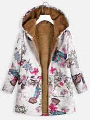 Kangaroo Pocket Plus Size Floral Print Coat -