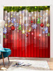 2 Panels Christmas Decorations Print Window Curtains -
