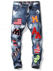 Badge Embroidered Zip Fly Cuffed Jeans -
