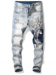 Carp Embroidery Stretchy Zipper Jeans -